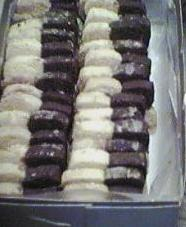 [black and white cookies in a box]