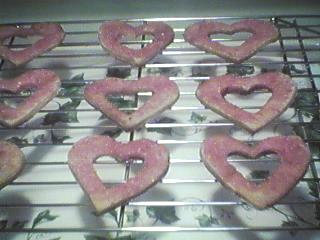 [spangly heart cookies]